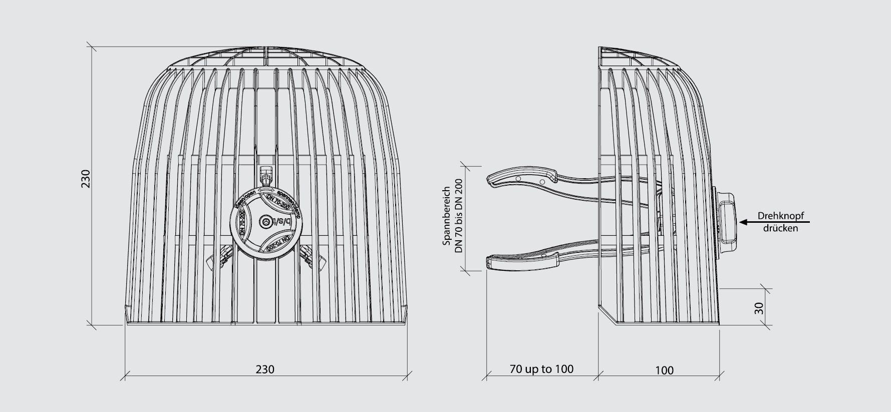 verschiedene Kiesfangkörbe für das Flachdach