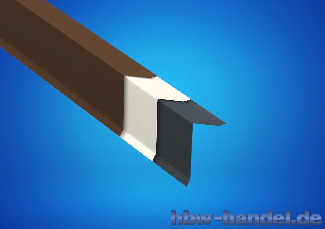 Ortgangblech Aluminium farb. für Flachdach / Holzkeilbohle