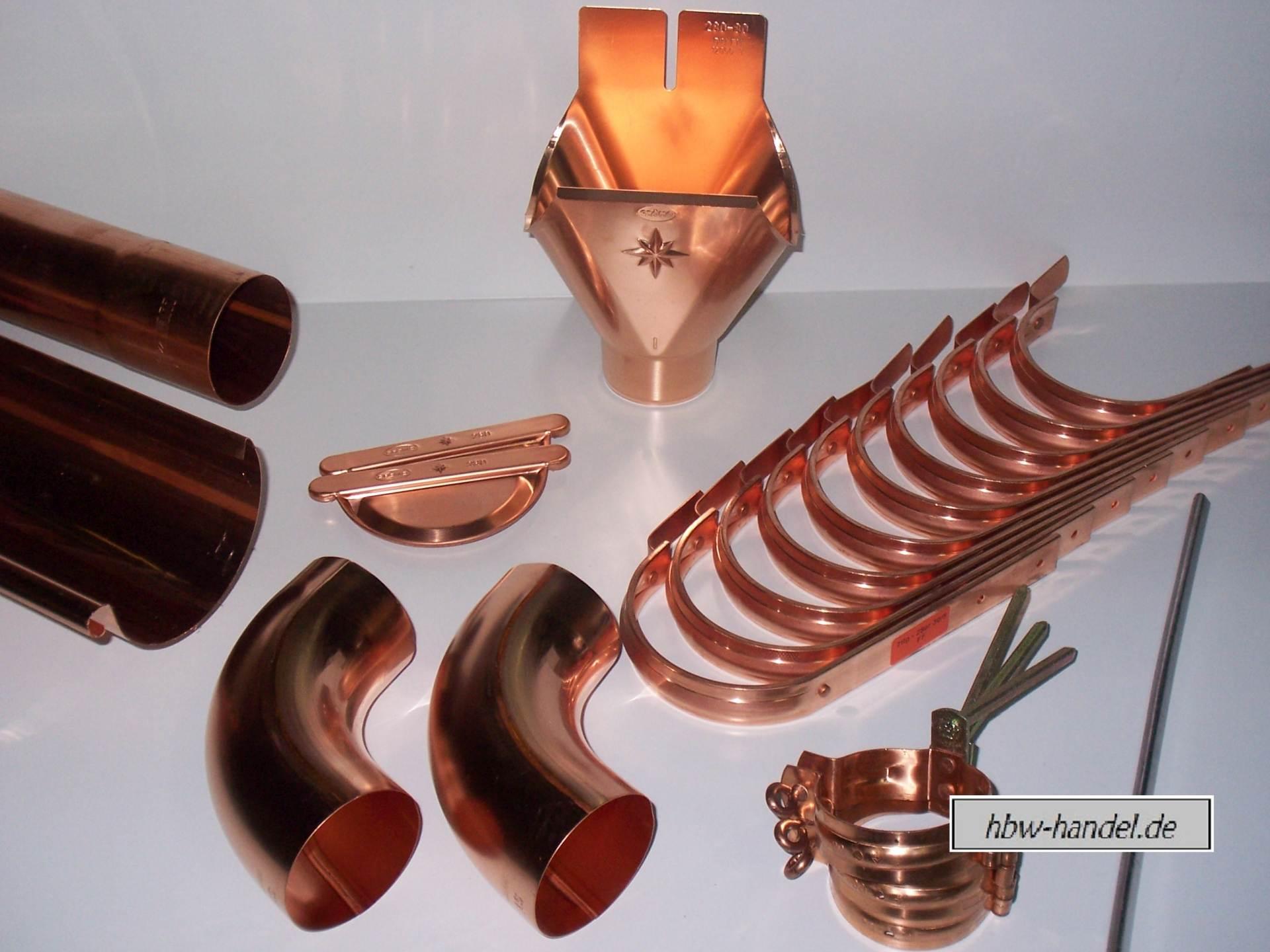 12m Komplettpaket Dachrinne halbrund in Kupfer