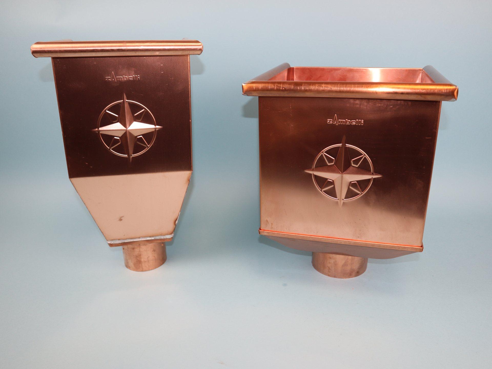 Wasserfangkasten, Rinnenkessel Kupfer in verschiedenen Ausführungen