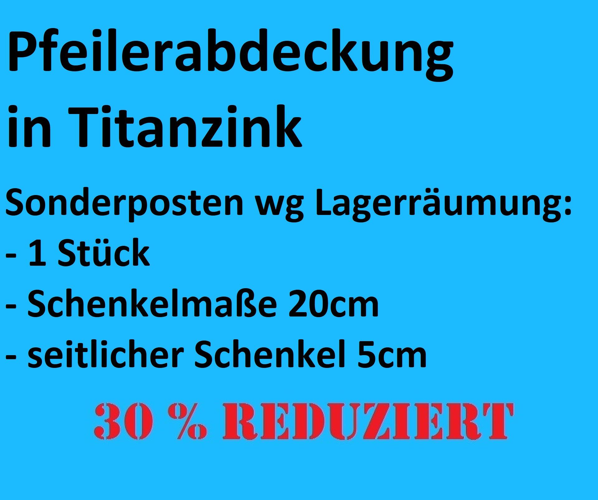 Pfeilerabdeckung in Titanzink, Abdeckungsbreite 20cm x 20cm
