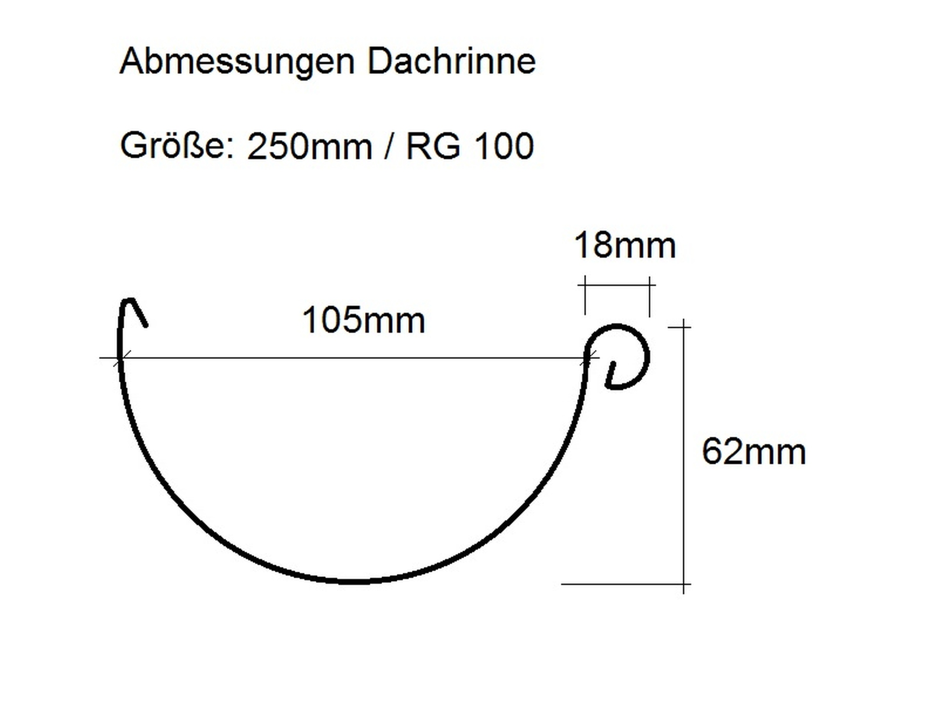 Dachrinne halbrund Titanzink, Größe und Länge auswählbar